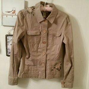 Forever 21 tan embroidered lightweight jacket Sz L